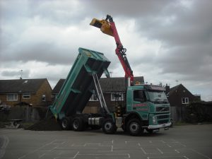 Grab Hire Tipper Lorry At Work In Herts